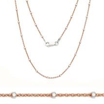 Damen Elegant 925 Silber 14K Rg Perle Kabel Halskette Alle Groben 2 Tone - £18.68 GBP+