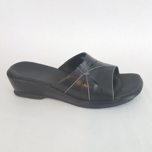 05e056f26db Clarks Slides Sandals Low Wedge Black Cut and 50 similar items