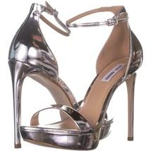 Steve Madden Starlet Ankle Strap Heeled Sandals 934, Silver Metallic, 9.... - $36.47