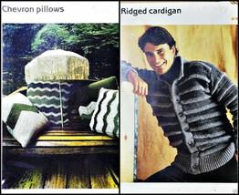 Crochet Patterns Cardigan Sweater Men Infant Kids and Chevron Pillow New... - $6.99