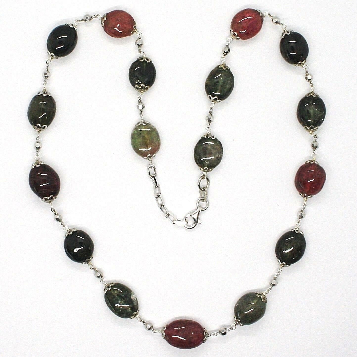 SILVER 925 NECKLACE, TOURMALINE OVALS, GREEN AND REDHEAD, SPHERES FACETED