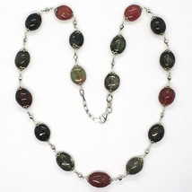 SILVER 925 NECKLACE, TOURMALINE OVALS, GREEN AND REDHEAD, SPHERES FACETED image 1
