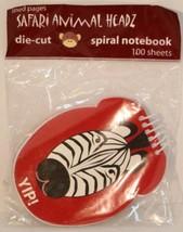 Safari Animal Headz - Zebra  Die-cut Spiral Notebook pad lined 100 pages... - $4.94