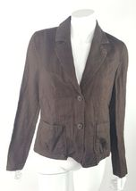 Talbots Womens Size 8 Dark Brown Collared Buttoned Irish Linen Blend Bla... - $14.89