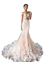 Women's Long Mermaid Lace Wedding Dresses Backless Bridal Gown Champagne Cheap - $189.00