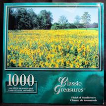 "Sure-Lox Jigsaw Puzzle 1000 piece ""Field of Sunflowers"" Classic Treasure... - $10.44"