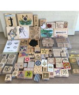 Lot Of 144 Wood Rubber Ink Stamp Stampin Up Stamping Mixed Brands Arts C... - $89.09