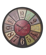 Large Hanging Metal Wall Clock Live Laugh Love Round Multi-Color Vintage... - $57.99