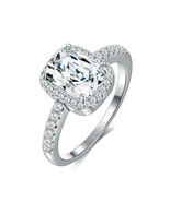 BERRICLE Sterling Silver Cushion Cut CZ Statement Halo Engagement Ring 6... - $13.99