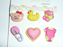 Baby Hugs - Baby Girl Pink 3D Realistic Shank Buttons (6) - Heart, Socks... - $4.99