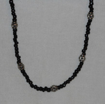 Handcrafted Black Decorative Glass Bead Beaded Necklace 16 inches - $17.00
