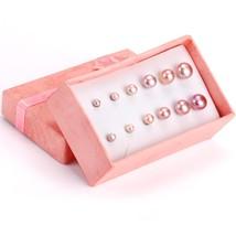 6 Pair/Box oorbellen Pink/White Fake Pearl Earring Set Stud Earrings For... - $21.73