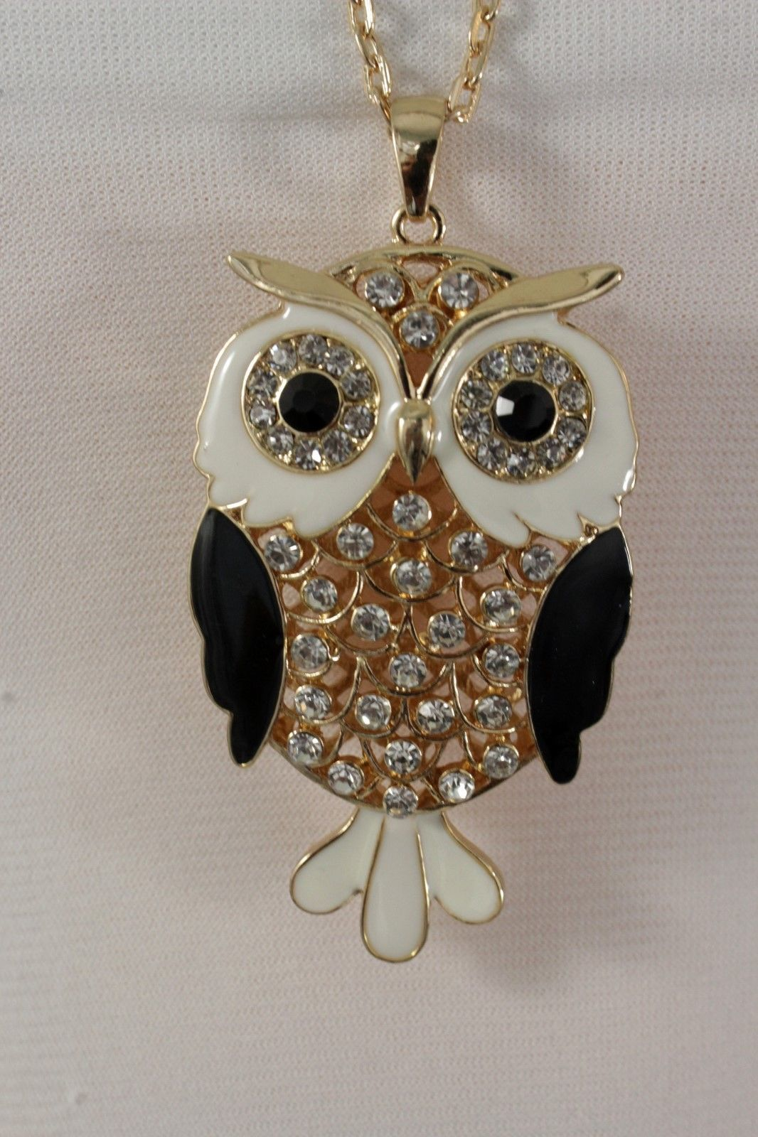 Damen Gold Lang Metall Silber-Blau Mode Halskette Eule Vogel Charm Anhänger Tier