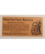 1893 Seneca Falls Manufacturing Co. - Patent Foot Power Machinery Advert... - $20.00
