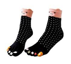 George Jimmy Breathable Cartoon Tube Toe Scoks Black Cotton Socks - £11.74 GBP