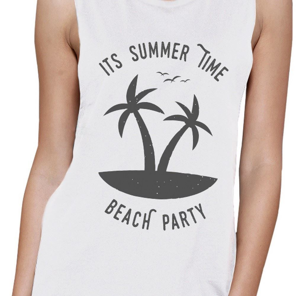 It's Summer Time Beach Party Womens White Muscle Top