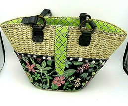 Vera Bradley Tote Bag - Floral Design with Straw Top and Green Lining - $74.95