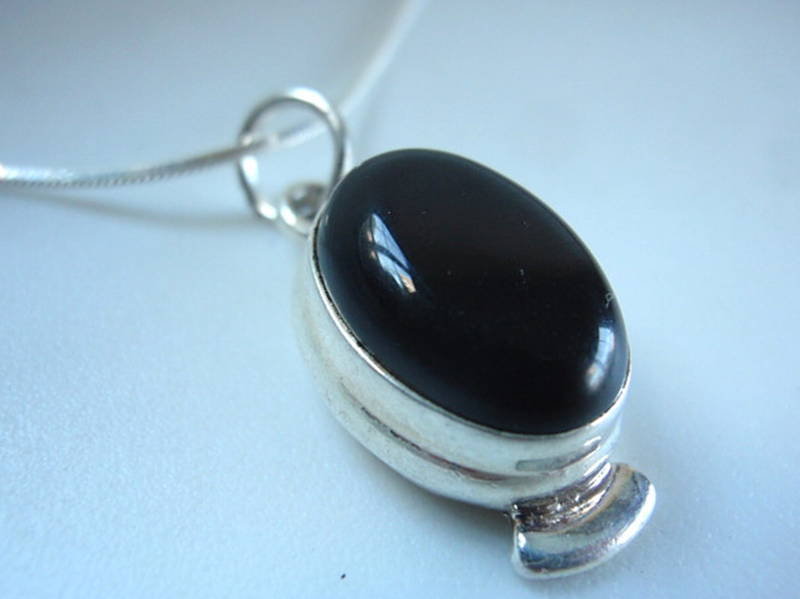 Primary image for Sparkling 3ct Black Onyx Ellipse Silver Necklace