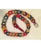 "BELT Multi-Color Genuine Leather Chain Links Belt SIZE: 41.5"" total length - $21.82"
