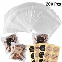200Pcs White Dots Cellophane Bakery Cookie Candy Bags with 200 Thank You Sticker image 11