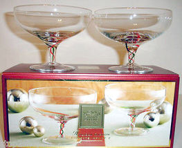 Lenox Holiday Ribbon Footed Crystal Compote Dessert Bowl Set of 2 Glasses New image 3