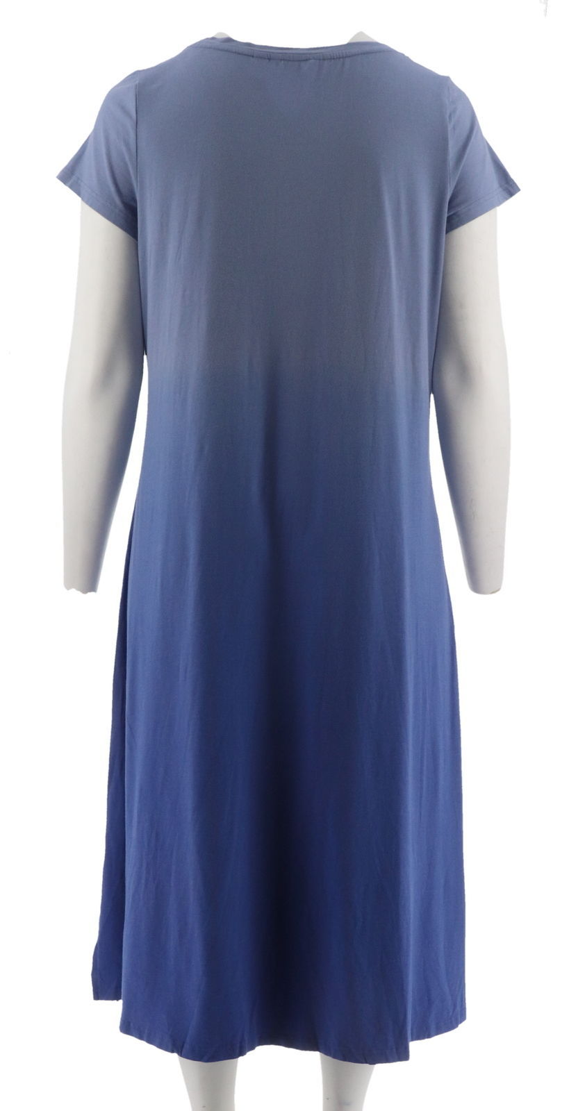 H Halston Short Slv Dip Dye Knit Midi Dress Purple Iris S NEW A289380 image 3