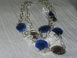 Estate Avon Multistrand Open Silvertone Chain with Crackled Blue Clear Plastic - $12.19