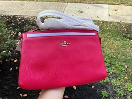 NWT COACH JOURNAL Slim Crossbody Handbag Pebble Leather Pink Ruby 53357  - $69.25