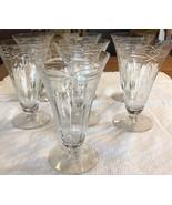 Seven Antique etched crystal wine glasses - $25.00