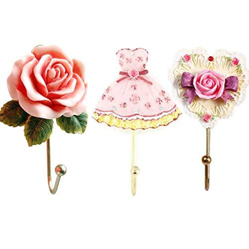 Evoio 3PCS Wall Hooks Rose Flower/Heart/Dress Resin Wall Mounted Vintage Hook Ha