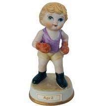 Birthday Gift porcelain figurine vtg ceramic sculpture Japan 1960s April... - $19.30