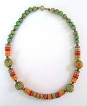 "Vintage Hippie Folk Boho Wooden Bead Necklace Natural Wood Mod shabby chic 16"" - $8.22"