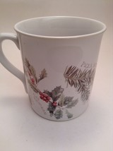 Marjolein Bastin Coffee Tea Mug Cup Botanical Theme Holly Berry Plants -ve - $10.09 CAD