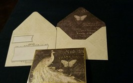 1 Punch Studio Gold Emboss  thank you white peacock card/ wow ENVELOPE~3... - $3.60