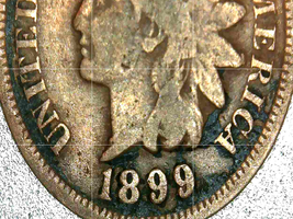 Indian Head Penny 1899, 1900, and 1901 AA20-CNP2135 Antique image 1