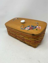 Longaberger 1996 Bread Basket With customized wooden lid, cloth lining a... - $39.59