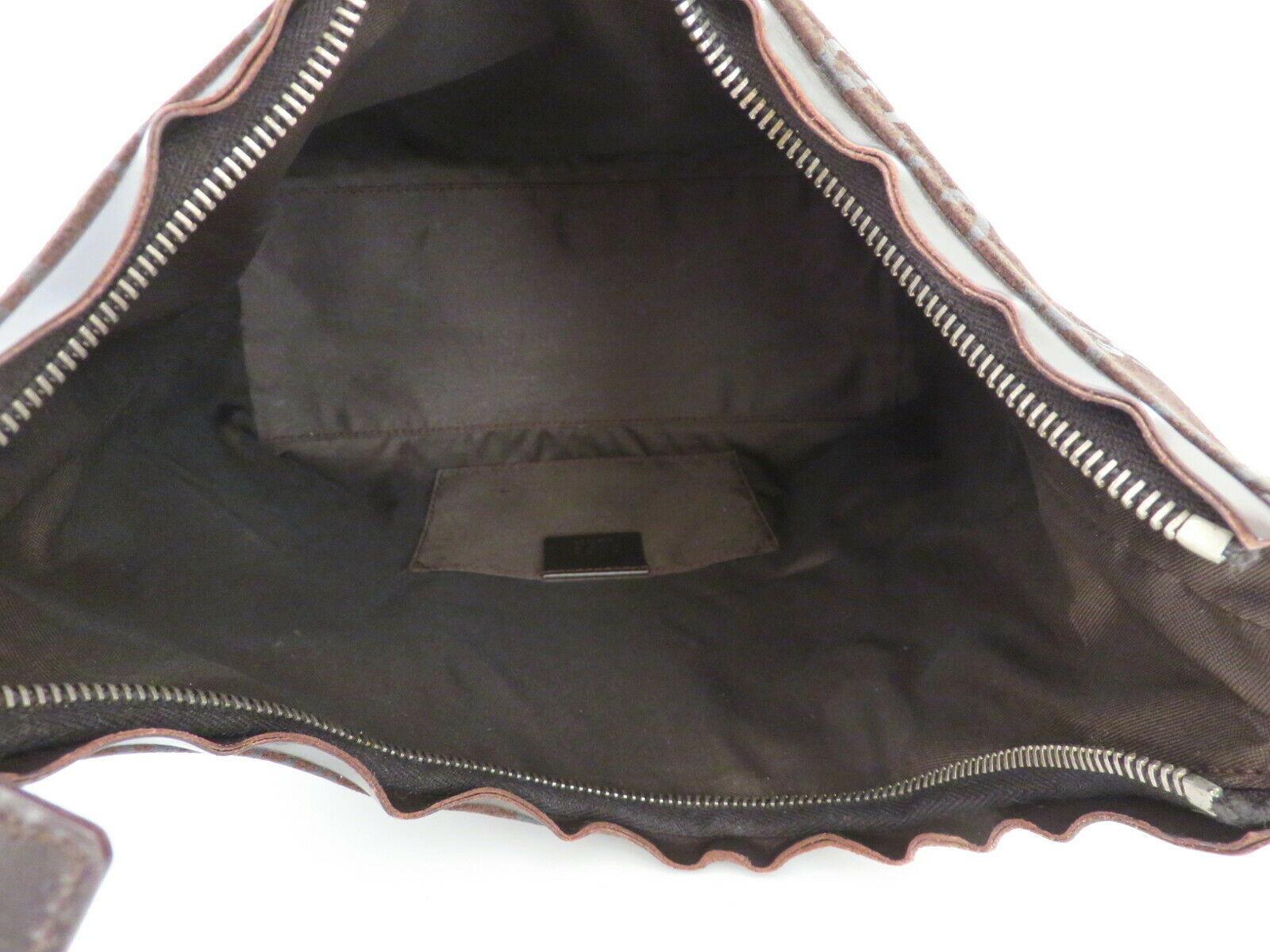 Authentic GUCCI Dark Brown Original GG Suede Leather Shoulder Bag Purse