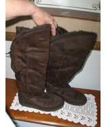 Airwalk Womens Boots Brown Suede Faux Fur Wrap Up Laced Tall Size 6  - €21,06 EUR