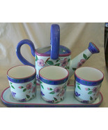 CAPRIWARE CERAMIC 5 PIECE WATERING CAN, FLOWER POTS AND TRAY SET - $74.25