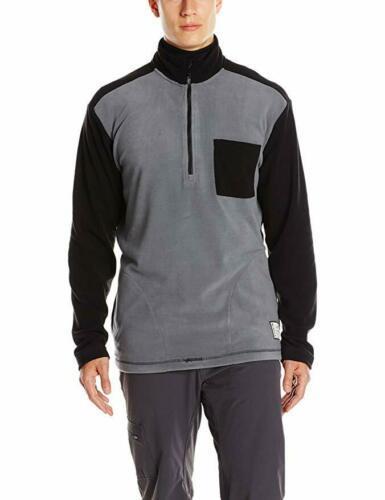 Large KAVU Men's Ridgeway Jacket Half Zip Pullover Micro Fleece Black Smoke