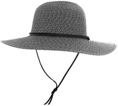 Livingston Unisex UPF 50+ Wide Brim Braided Straw Sun Hat w/Lanyard,Blac... - $22.21