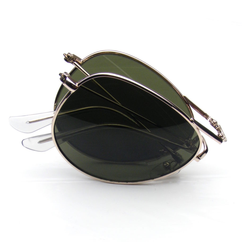 Folding Pocket Metal Aviator Sunglasses