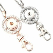 Snap Button Necklace Jewelry Rose Gold Round 18mm Keychain Keyring DIY P... - $4.19