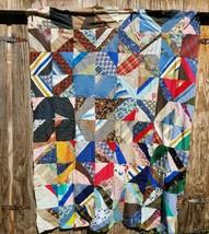 Vintage Quilt Top Paper Pieced Feedsack Scraps unfinished - $74.80