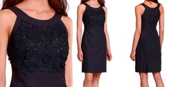 $188 Anthropologie Oleander Openwork Dress Black XSmall 0 2 Lace Overlay Shift - $92.65