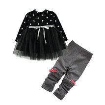 baby girl clothing set dress suit 2017 fashion polka dot long sleeved dr... - $17.90