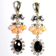 """Mode Peach & Black Lucite Bead 2.5"""" Drop Post Dangle Earrings New with Tag image 5"""