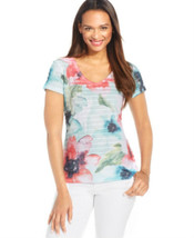 Jm Collection Women's SHORT-SLEEVE Floral Print Tee Size Small - $14.79