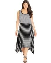 Style & Co. Dress Woman Sz 3X Black White Striped Rayon Blend Asymmetric... - $29.62