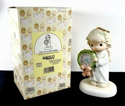 Vintage 1998 Precious Moments Angel Girl Clock Time For A Holy Holiday 455849 - $19.99